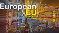 European Union word cloud box package Stock Image