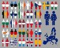Europ�ische Leute und Markierungsfahnen Stockbilder