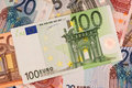 Euros euro banknote on a stash of euro money Royalty Free Stock Images