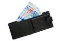 Euros in leather wallet Royalty Free Stock Images