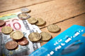 Euros money bank note and small change on the desk Royalty Free Stock Image