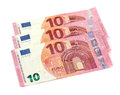 Euros notes fanned out on a white background Royalty Free Stock Image