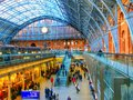 Eurostar st pancras internatioanl railway station here is a photograph of the roof structure of shopping arcade at terminal in Stock Images