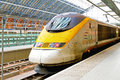Eurostar train london uk january on january locomotive at st pancras station in london uk Royalty Free Stock Images