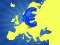 Eurozone illustration of euro currency symbol with europe maps Stock Photo