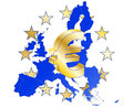 Eurozone illustration of euro currency symbol with europe maps Royalty Free Stock Photography