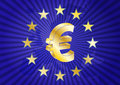 Eurozone illustration of euro currency symbol with europe maps Royalty Free Stock Photos