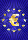 Eurozone illustration of euro currency symbol with europe maps Stock Photos