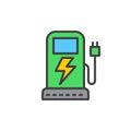 EV charging station filled outline icon, line vector sign, flat colorful pictogram. Symbol, logo illustration.