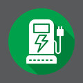 EV charging station flat icon. Round colorful button, circular vector sign with long shadow effect. Flat style design.
