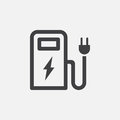 Ev station icon, vector logo, linear pictogram isolated on white, pixel perfect illustration.