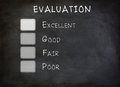Evaluation checklist board highlight at excellent Stock Photo