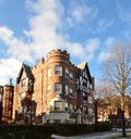 Evanston castle this is a picture of the tower apartments in illinois this structure is an example of the tudor revival Stock Photos
