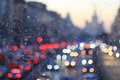 Eveining blurry city road with vehicles Royalty Free Stock Image