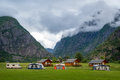 Evening at beautiful norwegian camping site. Royalty Free Stock Photo