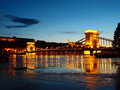 Evening in budapest bridge over the danube Stock Image