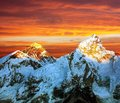 Evening colored view of everest from kala patthar nepal Royalty Free Stock Photos