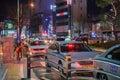Evening column of a taxi.