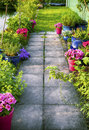 Evening in garden spring path by Stock Photos