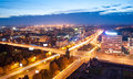 Evening kaliningrad night view on the central street of Stock Photography
