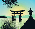 Evening Landscape in Japan with Tori-gate Royalty Free Stock Photo