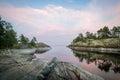Evening landscape of scenic Karelia republic nature.
