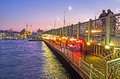 The evening life on Galata bridge Royalty Free Stock Photo