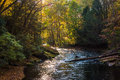 Evening light on the Gunpowder River in Gunpowder Falls State Pa Royalty Free Stock Photo