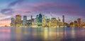 Evening Lights of Famous Manhattan Skylines, New York City Royalty Free Stock Photo