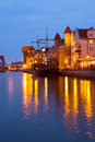Evening lights over motlawa river gdansk poland Royalty Free Stock Photo