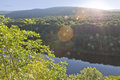 Evening on mountain river summer sunny delaware Stock Photo