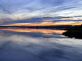 Evening nadim on the river nadym sunset over the city Royalty Free Stock Photography