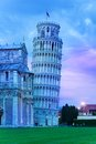 Evening night dusk in pisa tower and cathedral the Royalty Free Stock Photo