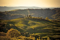 Evening outdoor tuscan hills landscape great light horizontal toned shot Stock Image