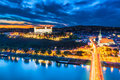 Evening panorama of bratislava slovakia Royalty Free Stock Photography