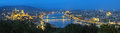 Evening panorama of Budapest, view from Gellert Hill, Hungary Royalty Free Stock Photo