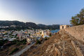 Evening panorama of Paleochora town, located in western part of Crete island, Greece Royalty Free Stock Photo