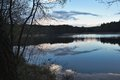 Evening panorama picture of the old pond or lake from mediaeval age taken before storm in summer in czech Stock Photos