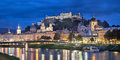 Evening panorama of Salzburg Royalty Free Stock Photo