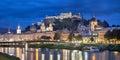 Evening panorama of Salzburg Royalty Free Stock Photo