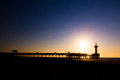 Evening pier silhouette Royalty Free Stock Images