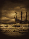 Evening pirate voyage stormy seas sepia version my original pirate seas Royalty Free Stock Image