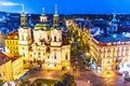 Evening prague czech republic scenic summer aerial view of the old town square in Royalty Free Stock Image