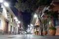 Evening in quito ecuador street the historical quarters of Stock Photography