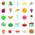 Evening revelry icons set, cartoon style Royalty Free Stock Photo