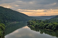 Evening on the river dniester summer in ukraine panorama Royalty Free Stock Images
