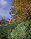 Evening on a river landscape with high grass and at summer Stock Photos