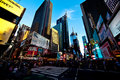 Evening scene of Times Square in Manhattan Stock Photos