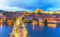 Evening scenery of prague czech republic scenic summer panorama the old town architecture with vltava river charles bridge and st Royalty Free Stock Photography