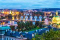Evening scenery of prague czech republic summer the old town architecture with vltava river and charles bridge in Royalty Free Stock Photos